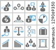 business management and human resource concept icon set - stock photo