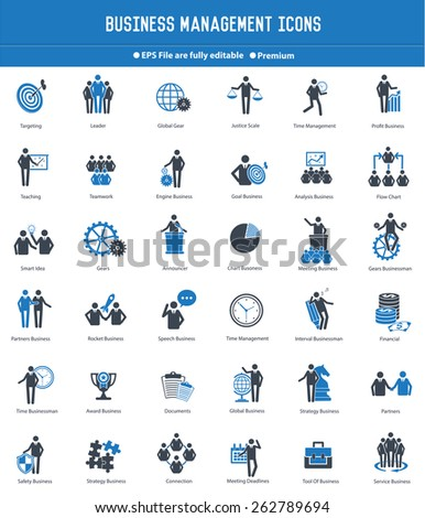 Business management and human resource icon set,blue version,clean vector - stock vector