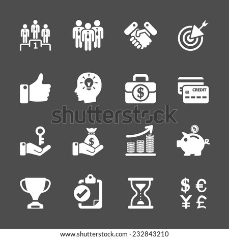 business management and human resources icon set, vector eps10. - stock vector