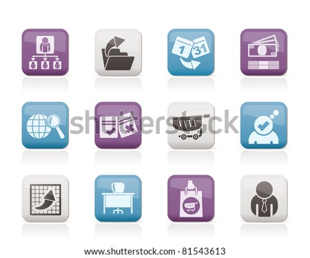 Business,  Management and office icons - vector icon set - stock vector