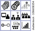 business management and organization management icon set, vector - stock vector