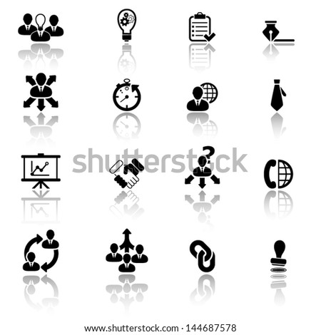 Business management and strategy icons - stock vector