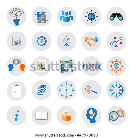 Business, Management and Teamwork Organization vector icons - stock vector