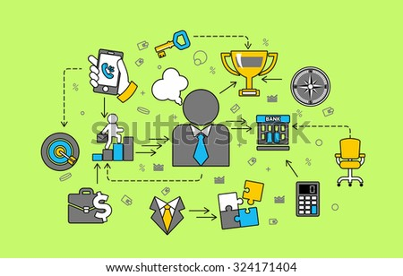 Business management flat design style vector illustration concept of consulting.