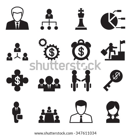 Business Management & Human resource icons set - stock vector