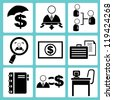 business management icon set, vector, officer icon set - stock vector