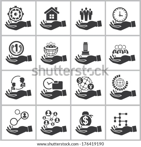 business management icons set, hand holding resource concept - stock vector