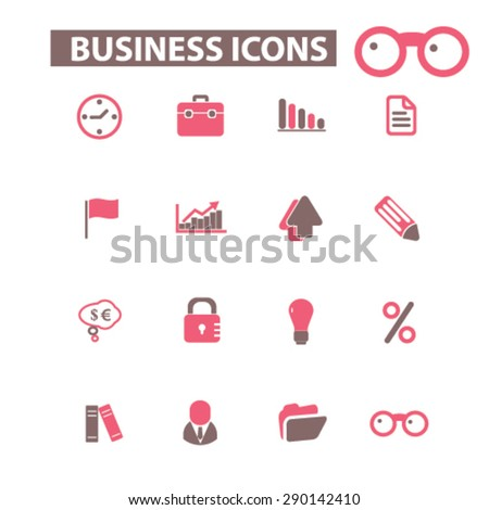 business, management isolated icons, signs, illustrations, vector for internet, website, mobile application on white background - stock vector
