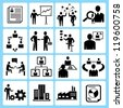 business management, organization development icon set - stock photo