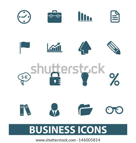 business, management, presentation, infographics icons, signs set, vector - stock vector