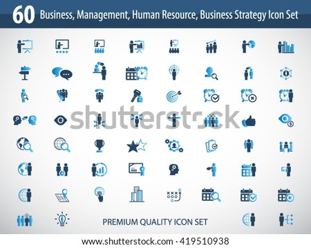 Business management, strategy or human resource icon set. EPS 10 vector. Can be used for any project - stock vector