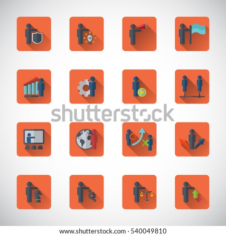Business management, strategy or human resource icons.Vector icon set.