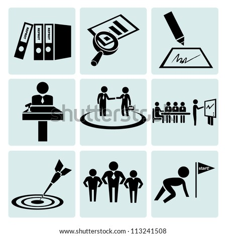 business management, working icon set - stock vector