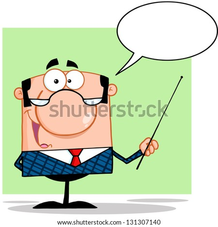 Business Manager Gesturing With A Pointer Stick And Speech Bubble - stock vector