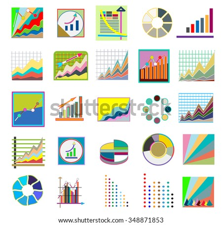 Business market elements diagrams and graphs flat icons, isolated vector illustration.