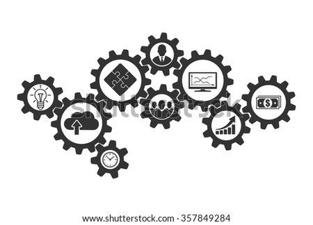 Business mechanism concept of cooperation and communications. Contacting gears for teamwork design and business problems collaboration solution. Vector infographic template with gear and icons. - stock vector