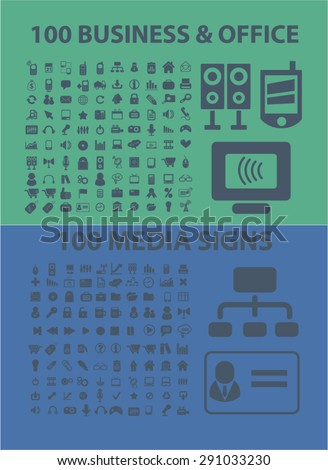 business, media, office, computer isolated icons, signs, illustrations on white background for website, internet, mobile application, vector - stock vector