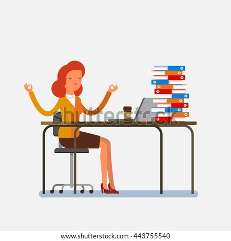 Business meditation. Cartoon business woman meditates. Concept of peace in mind. Flat design - stock vector