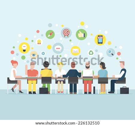 Business meeting and brainstorming. - stock vector