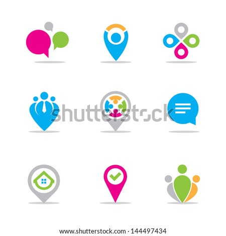 Business meeting and locating logo symbol icon set - stock vector