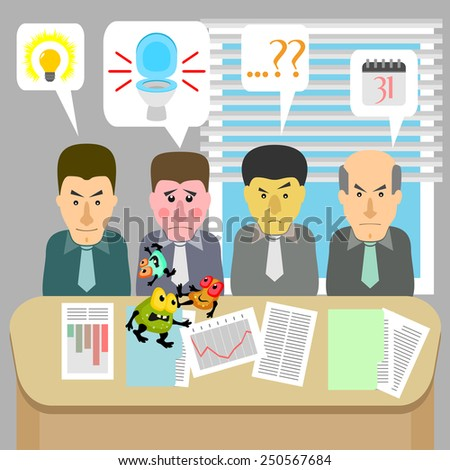 Business meeting and one man with problems with digestive system - stock vector