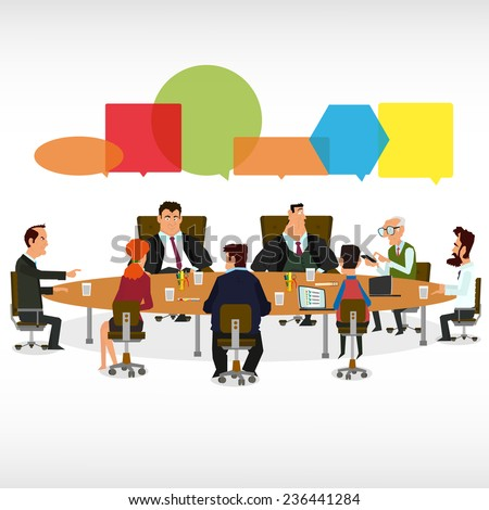 Business Meeting and Speech Bubbles. meeting business partners and discussion of business decisions. vector illustration. - stock vector
