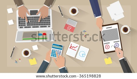 Business meeting and team work. Businessman with laptop, calculator, contract papers, coffee cups, pen, calendar and notes on desk with shadows. vector illustration in flat design on brown background - stock vector