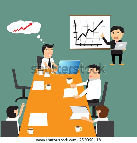 Business meeting, business partners and discussion of business decisions, business presentation. vector illustration. - stock vector