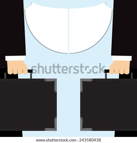 Business meeting, businessman with suitcase - stock vector