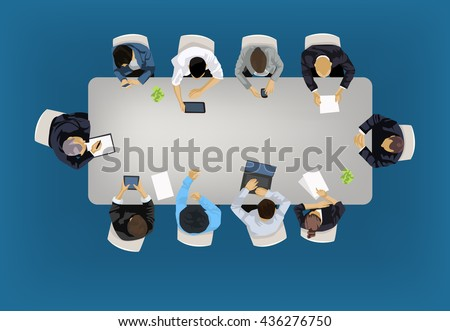 Business meeting concept illustration in an aerial view with people sitting around a conference table - stock vector