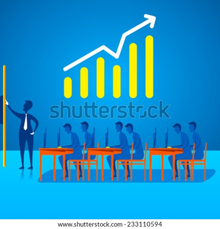 business meeting discussion on business growth or planning design concept vector - stock vector