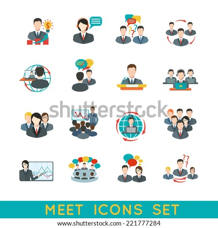 Business meeting flat icons set of partnership planning conference elements isolated vector illustration. - stock vector