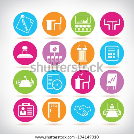 business meeting icons set, conference icons set - stock vector