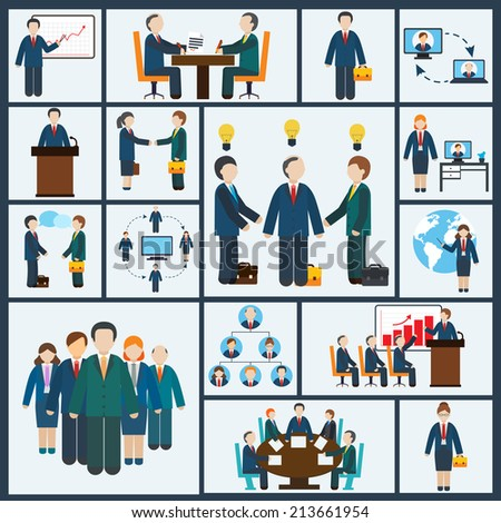 Business meeting icons set of partnership planning conference elements isolated vector illustration - stock vector