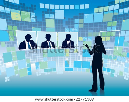 Business meeting in a virtual space, conceptual business illustration. - stock vector