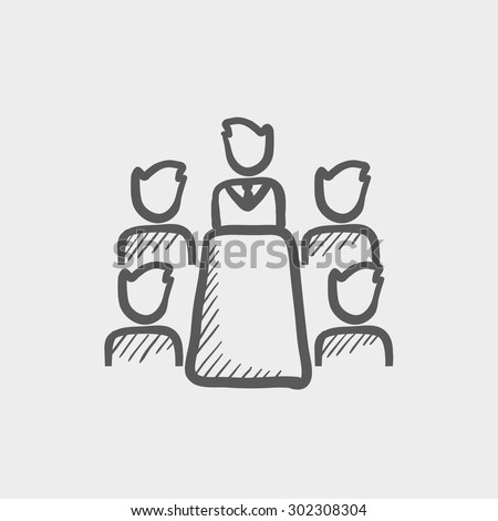Business meeting in office sketch icon for web and mobile. Hand drawn vector dark grey icon on light grey background. - stock vector