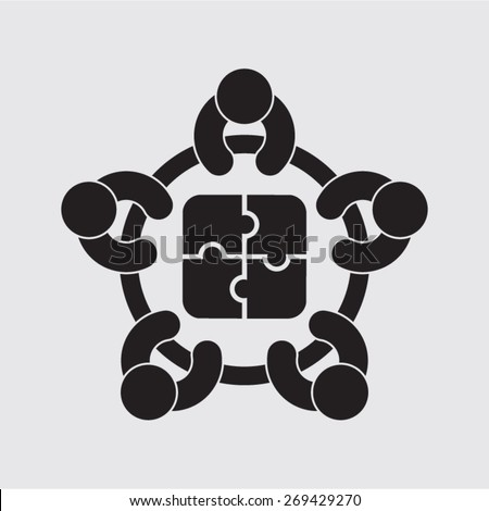 business meeting planning cooperation solution vector icon - stock vector