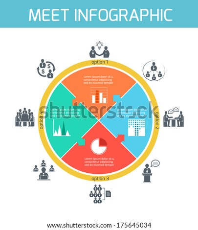 Business meeting puzzle infographics presentation design elements vector illustration - stock vector