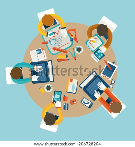 Business meeting, teamwork, brainstorming in flat style.  - stock vector