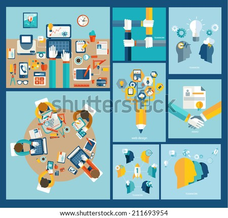 Business meeting, teamwork, brainstorming in flat style. Web design concept.  Vector.  - stock vector