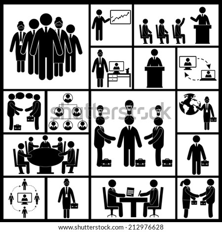 Business meeting teamwork group work black icons set isolated vector illustration - stock vector