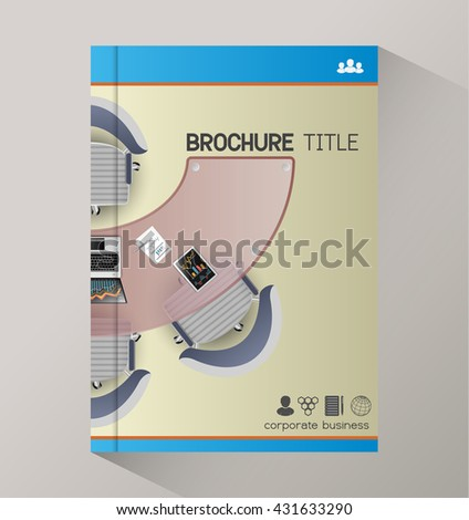 Business meeting training top view manager office, brochure, booklet. - stock vector