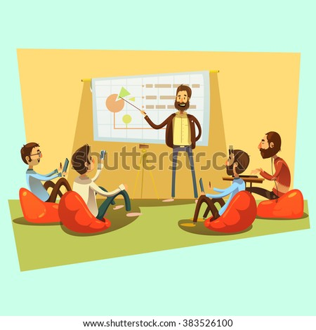 Business meeting with people and presentation on blue background cartoon vector illustration