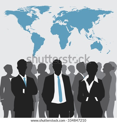 Business meeting with world map. - stock vector