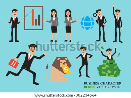 Business men and women cartoon in different poses.office character.3 - stock vector