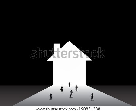 Business men and women standing front of big house home door.  nicely dressed businessmen and businesswomen standing, thinking, dreaming, planning in front of big house or home shaped door concept - stock vector