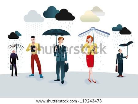 Business men and women with umbrellas under different types of clouds. A man is connected through his digital tablet. A woman holding an umbrella book which receives a fine shower of letters.