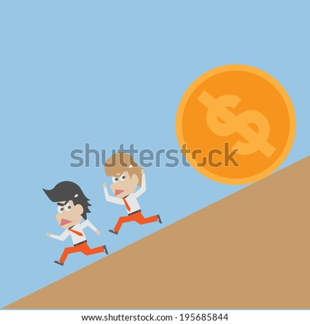 business men escaping from falling dollar recession - stock vector