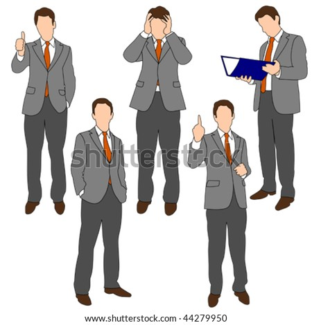 Business Men in different poses 01 - stock vector