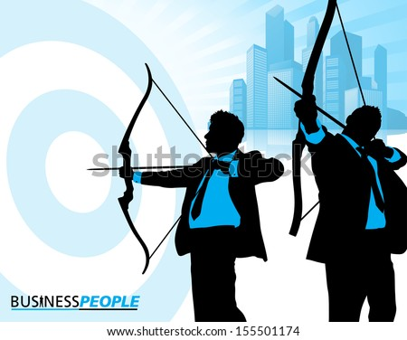 Business Men on Target  - stock vector